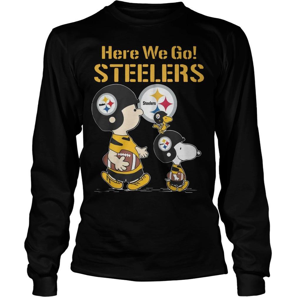 Charlie Brown Snoopy And Woodstock Here We Go Steelers Longsleeve