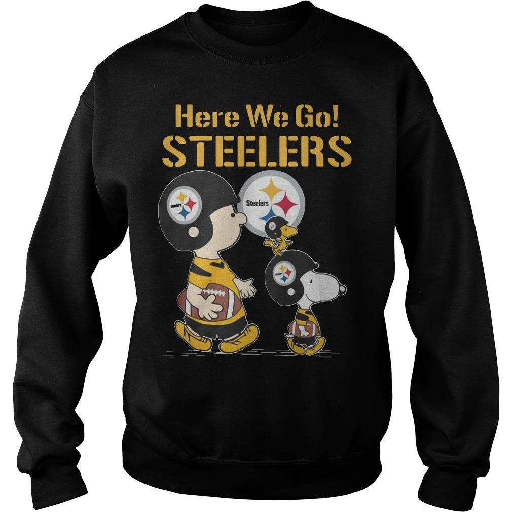 Charlie Brown Snoopy And Woodstock Here We Go Steelers Sweater