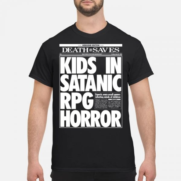 Death Saves Kids In Satanic Rpg Horror Shirt