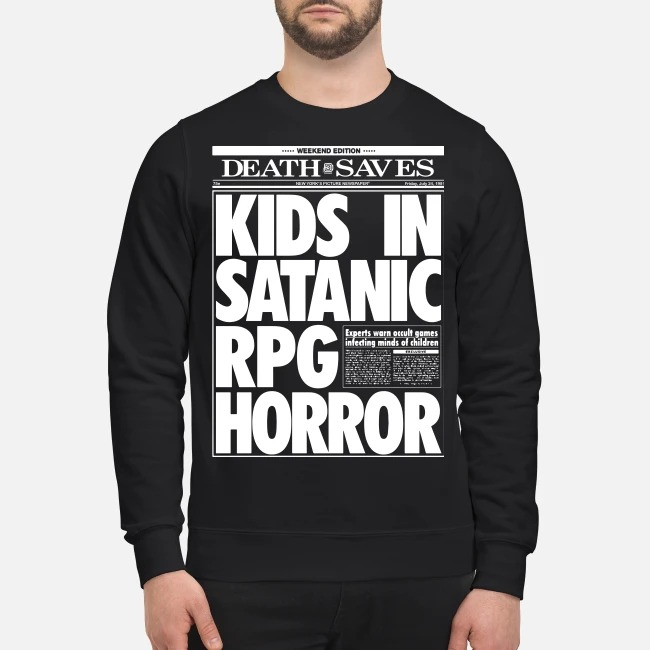 Death Saves Kids In Satanic Rpg Horror Sweater