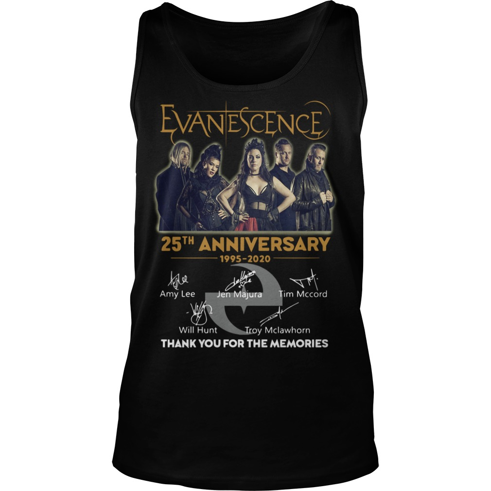 Evanescence 25th Anniversary 1995 2020 Thank You For The Memories Tank Top