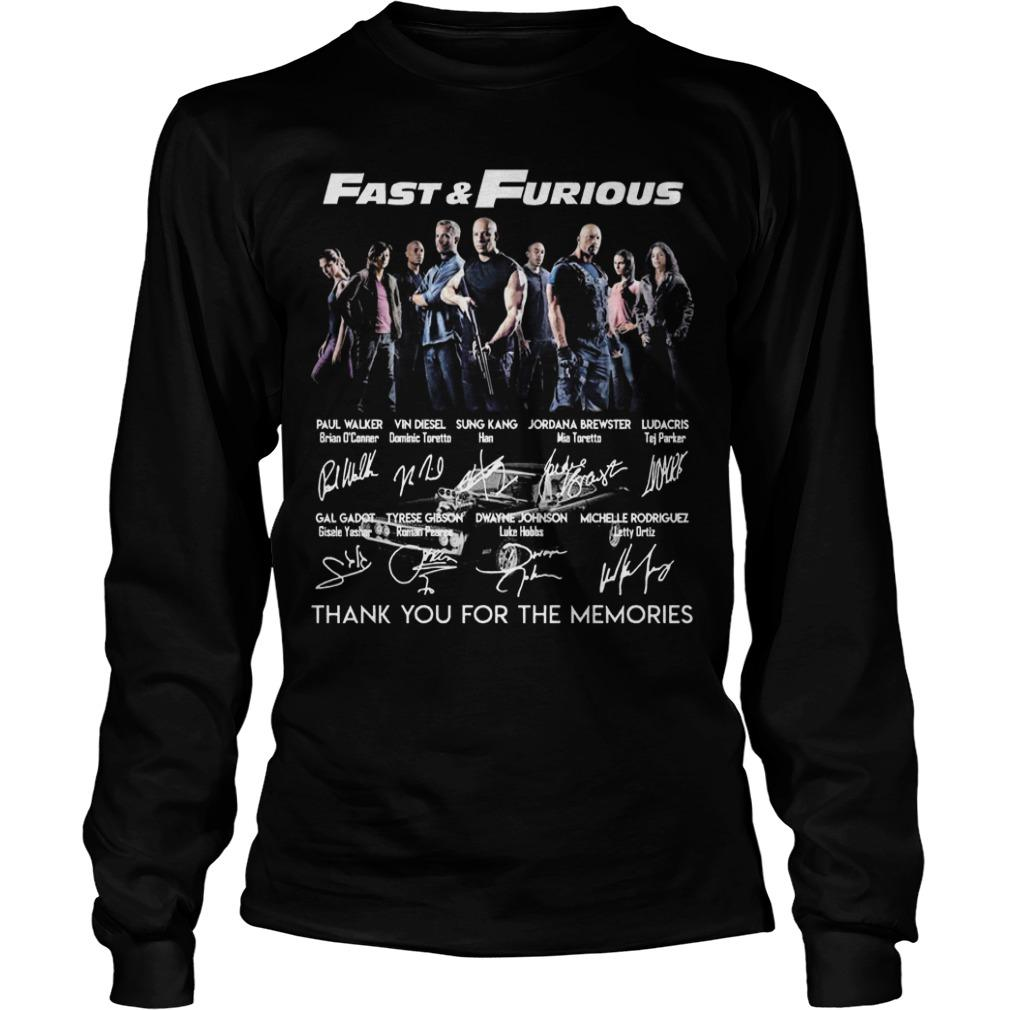 Fast And Furious Thank You For The Memories Signatures Longsleeve
