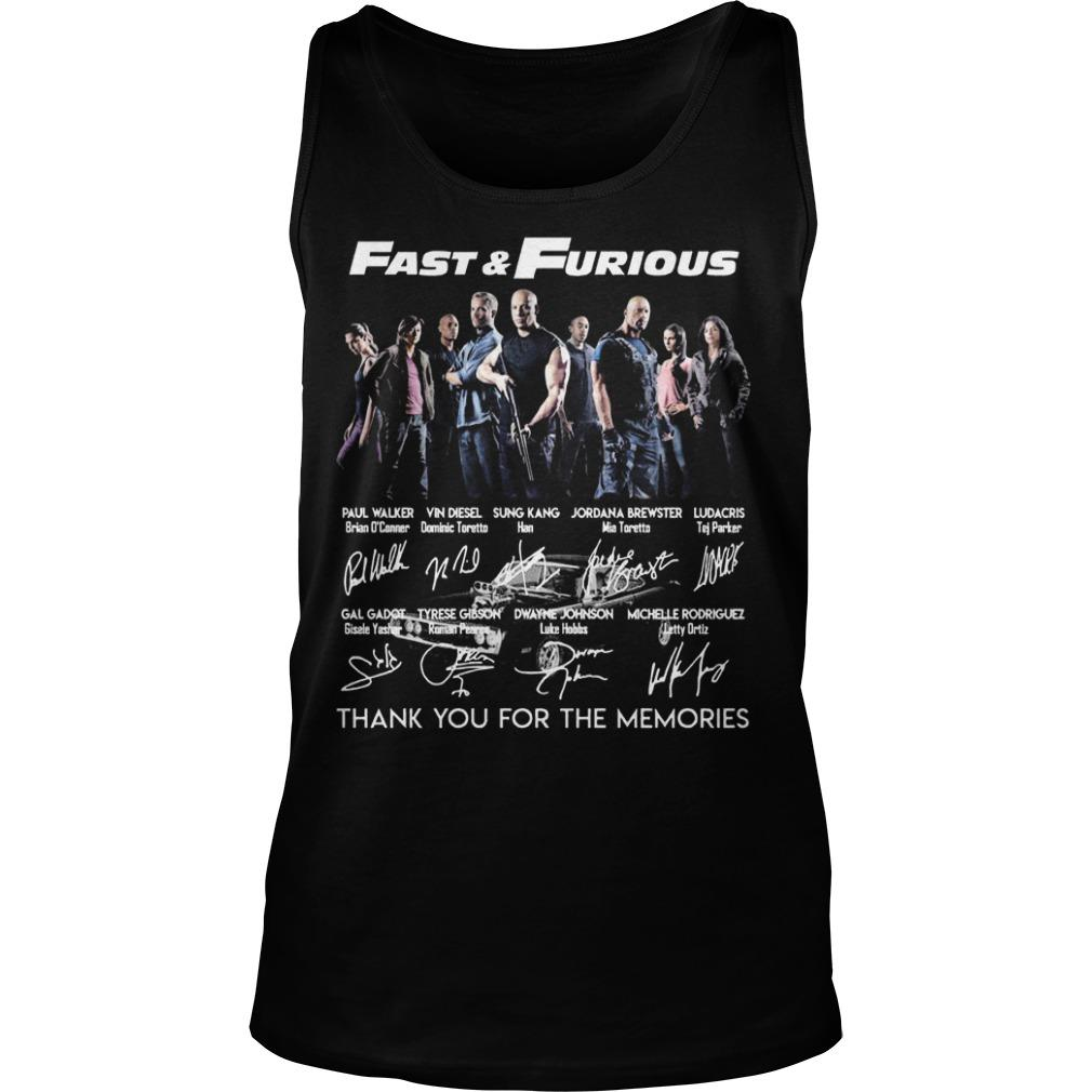 Fast And Furious Thank You For The Memories Signatures Tank Top