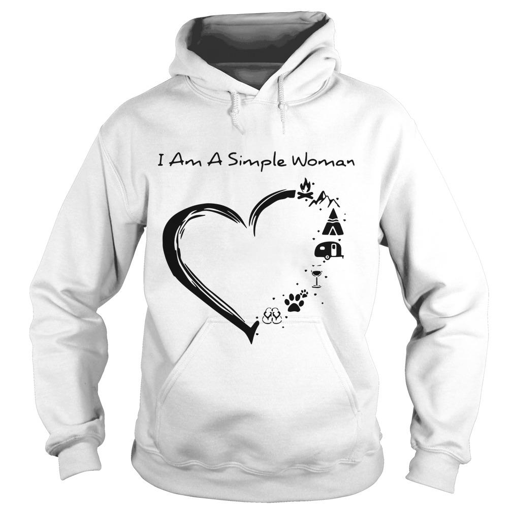 I Am A Simple Woman Camping Hiking Wine Dog Heart Hoodie