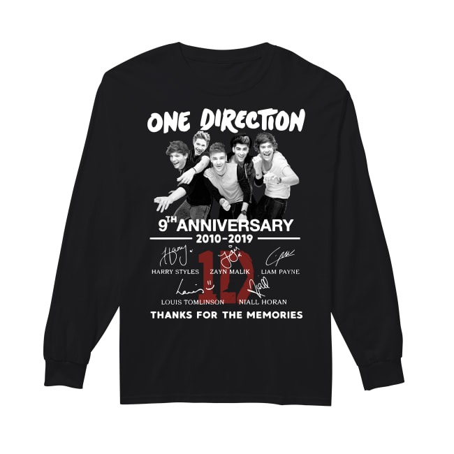 One Direction 9th Anniversary 2010 2019 Thanks For The Memories Longsleeve Tee.jpg