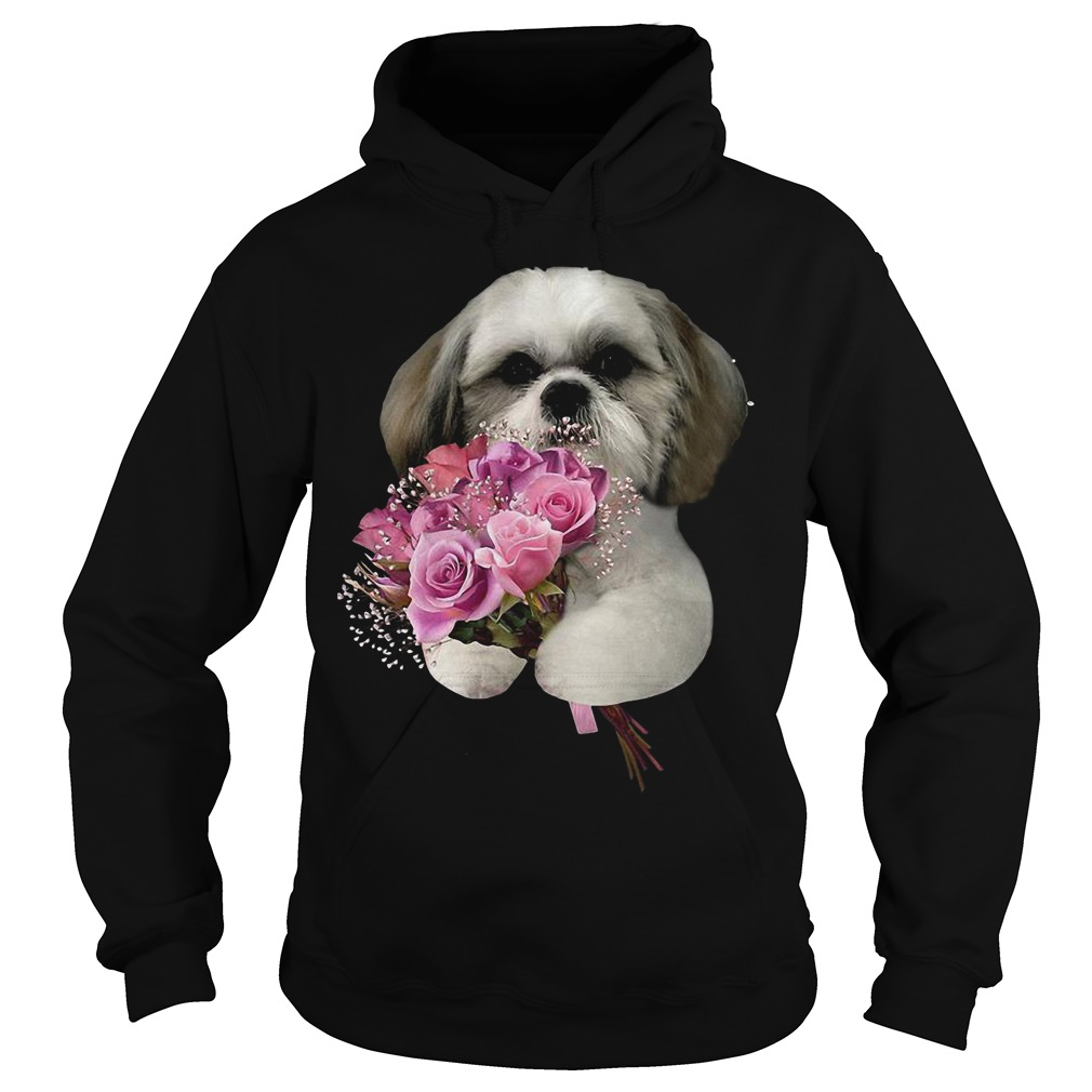 Shih Tzu Holds A Bunch Of Roses Hoodie