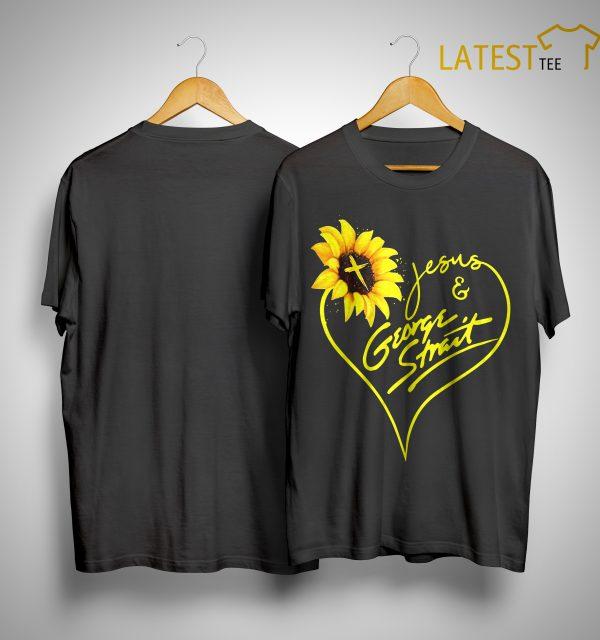 Sunflower Jesus And George Strait Shirt