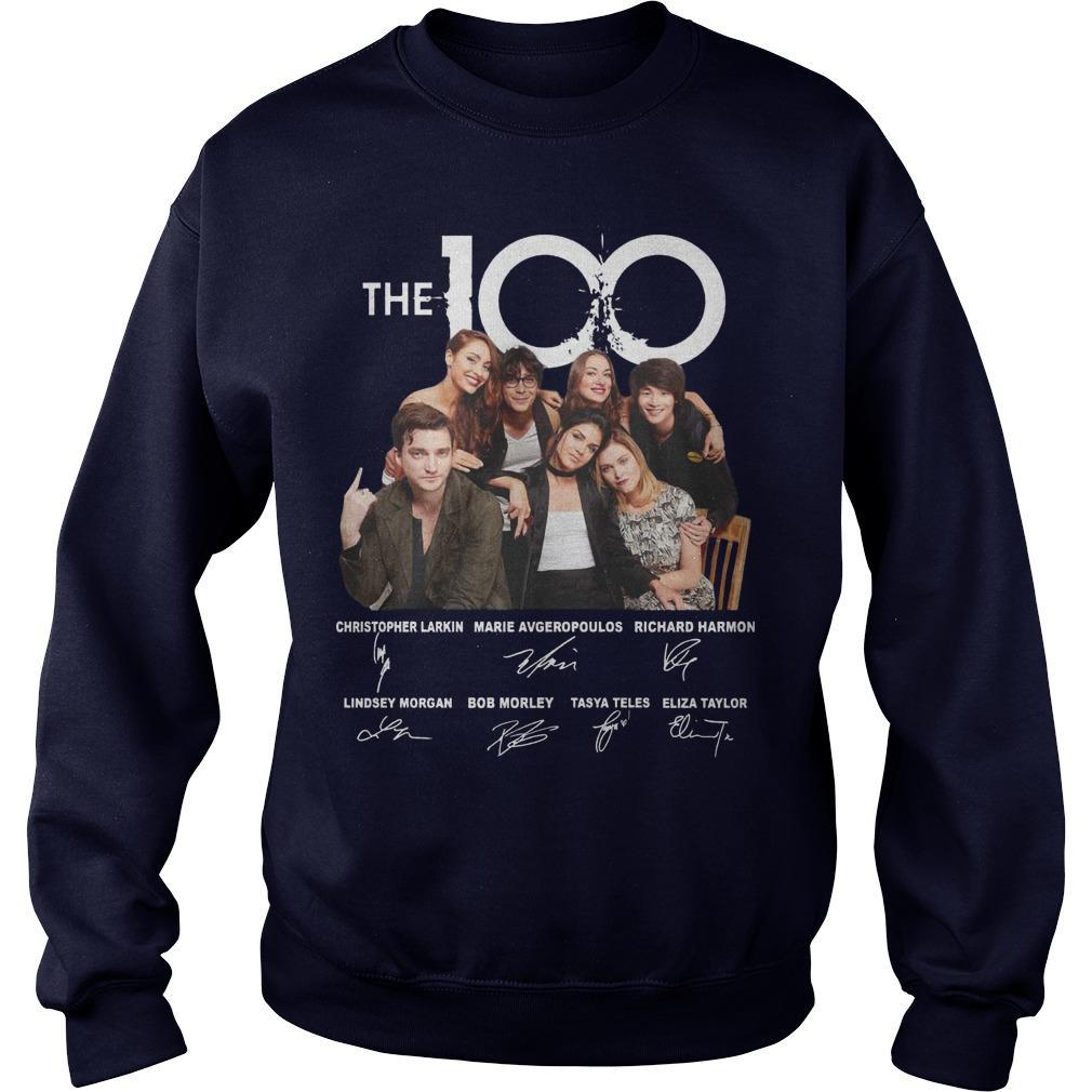 The 100 Christopher Larkin Marie Avgeropoulos Richard Harmon Signature Sweater
