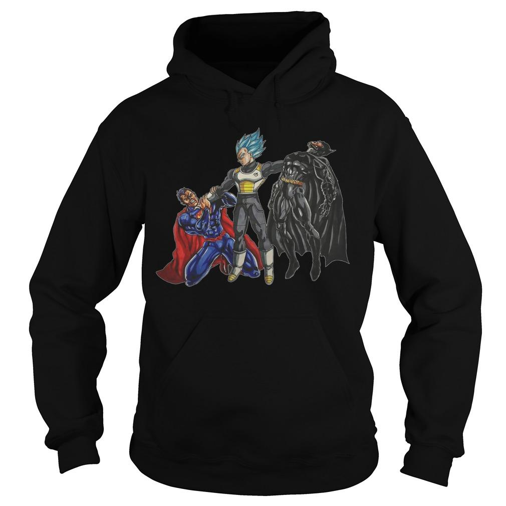 Vegeta Beats Superman And Batman Hoodie