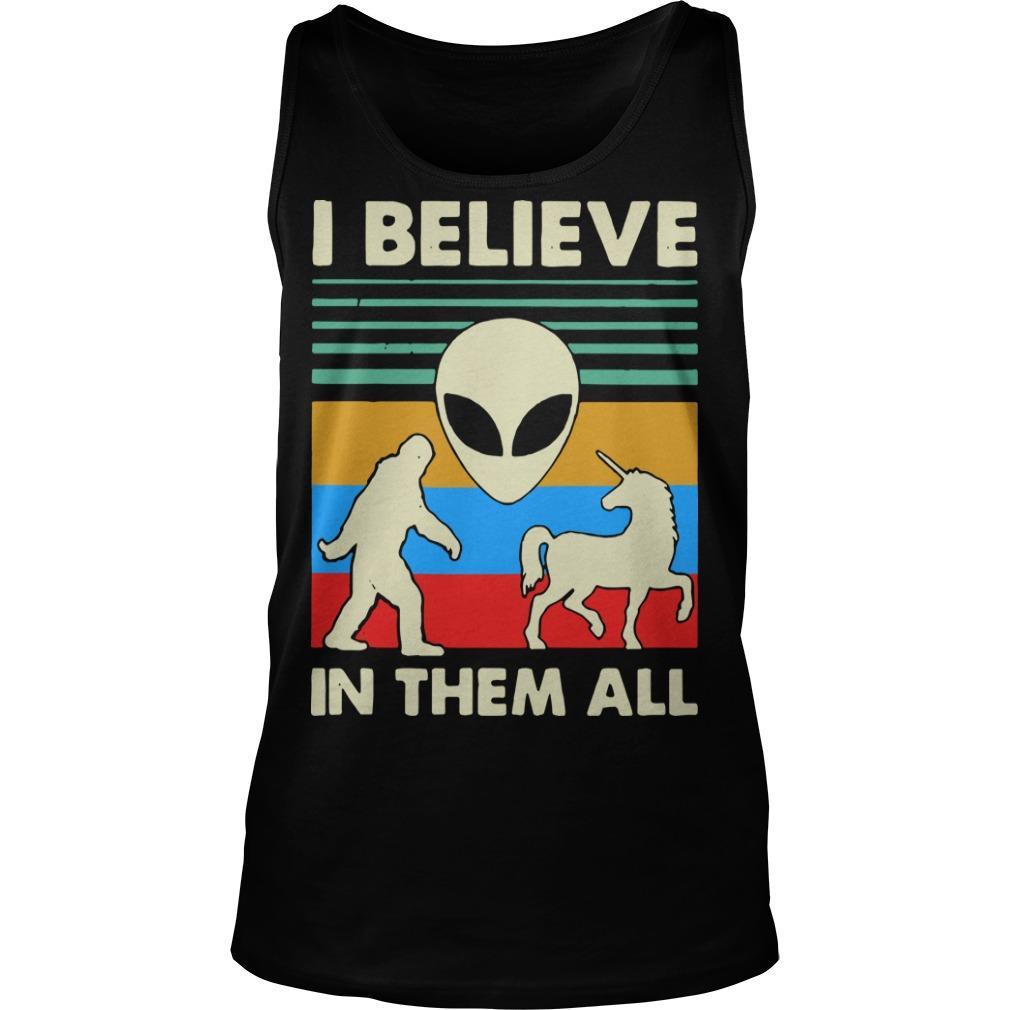 Vintage Alien Unicorn I Believe In Them All Tank Top