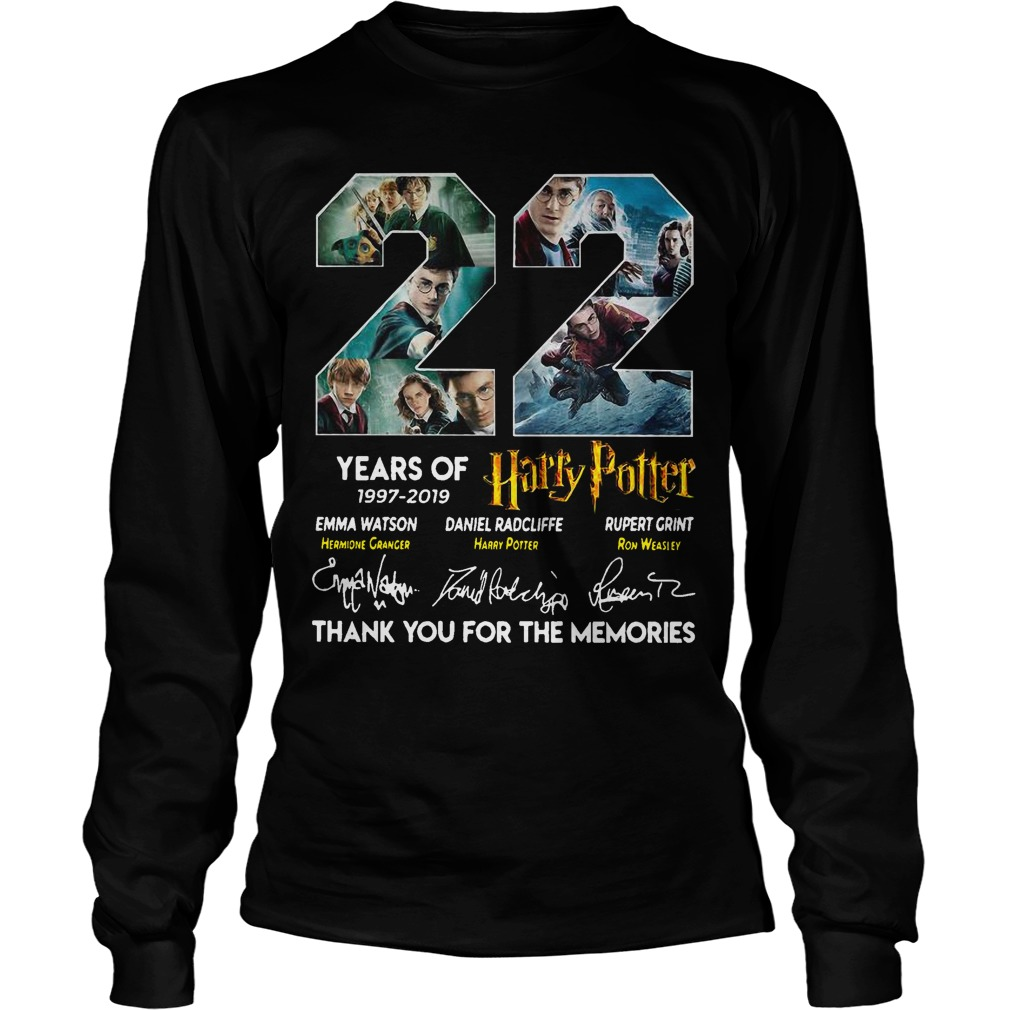 22 Years Of Harry Potter 1997 2019 Thank You The Memories Signatures Longsleeve