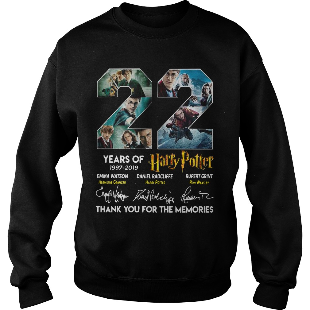 22 Years Of Harry Potter 1997 2019 Thank You The Memories Signatures Sweater