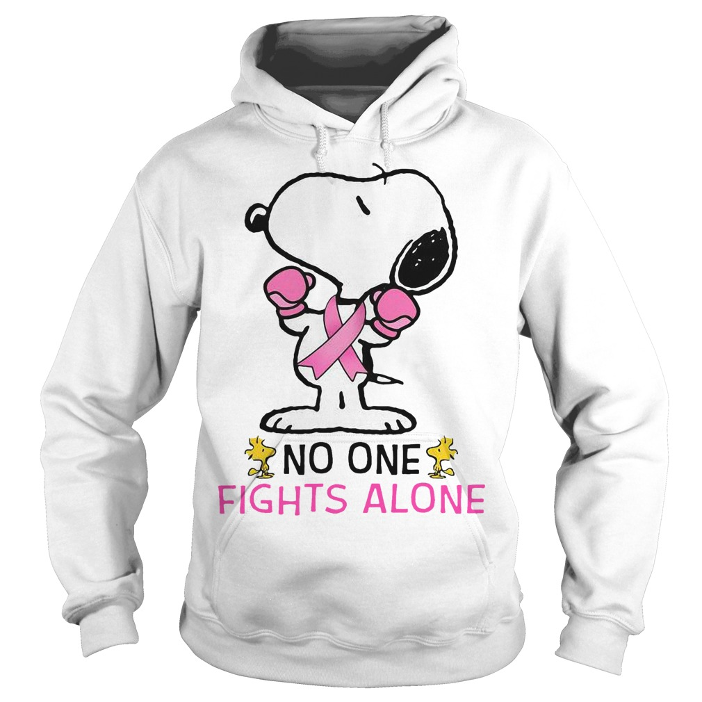 Breast Cancer Snoopy No One Fights Alone Hoodie