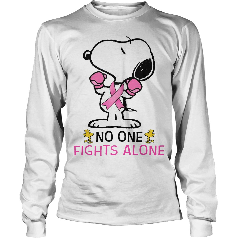 Breast Cancer Snoopy No One Fights Alone Longsleeve