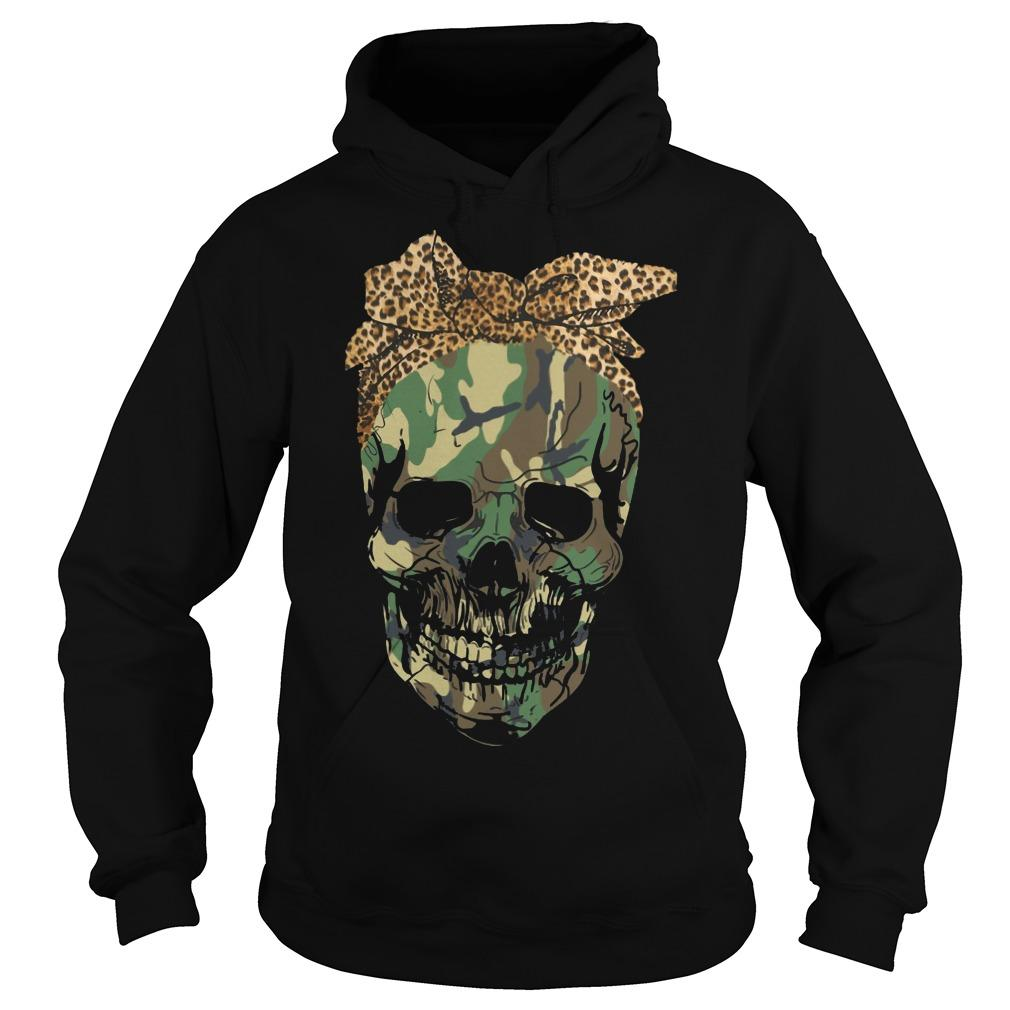 Camouflage Skull With Leopard Bandana Hoodie
