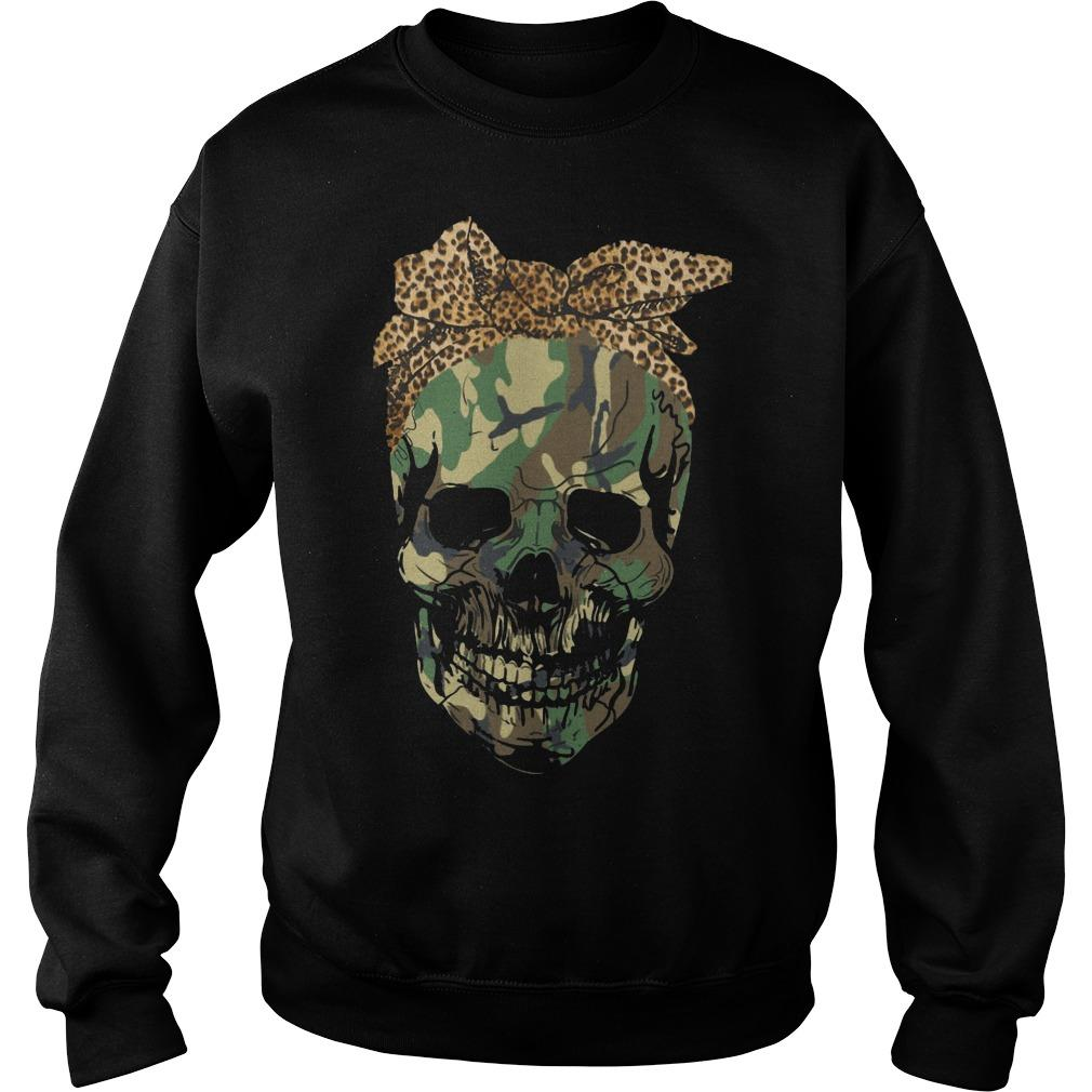 Camouflage Skull With Leopard Bandana Sweater