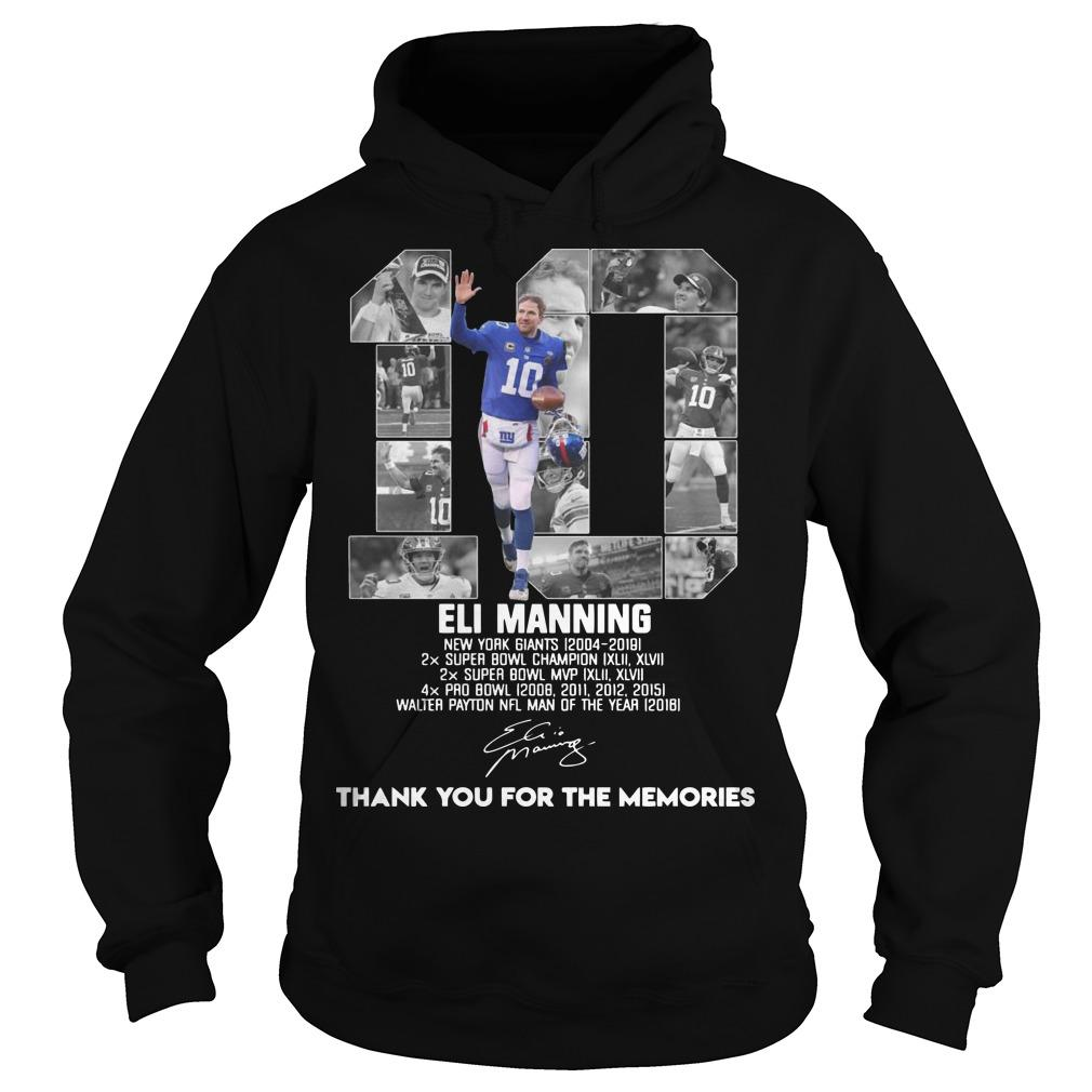 Eli Manning New York Giants 2014 2019 Thank You For The Memories Signature Hoodie