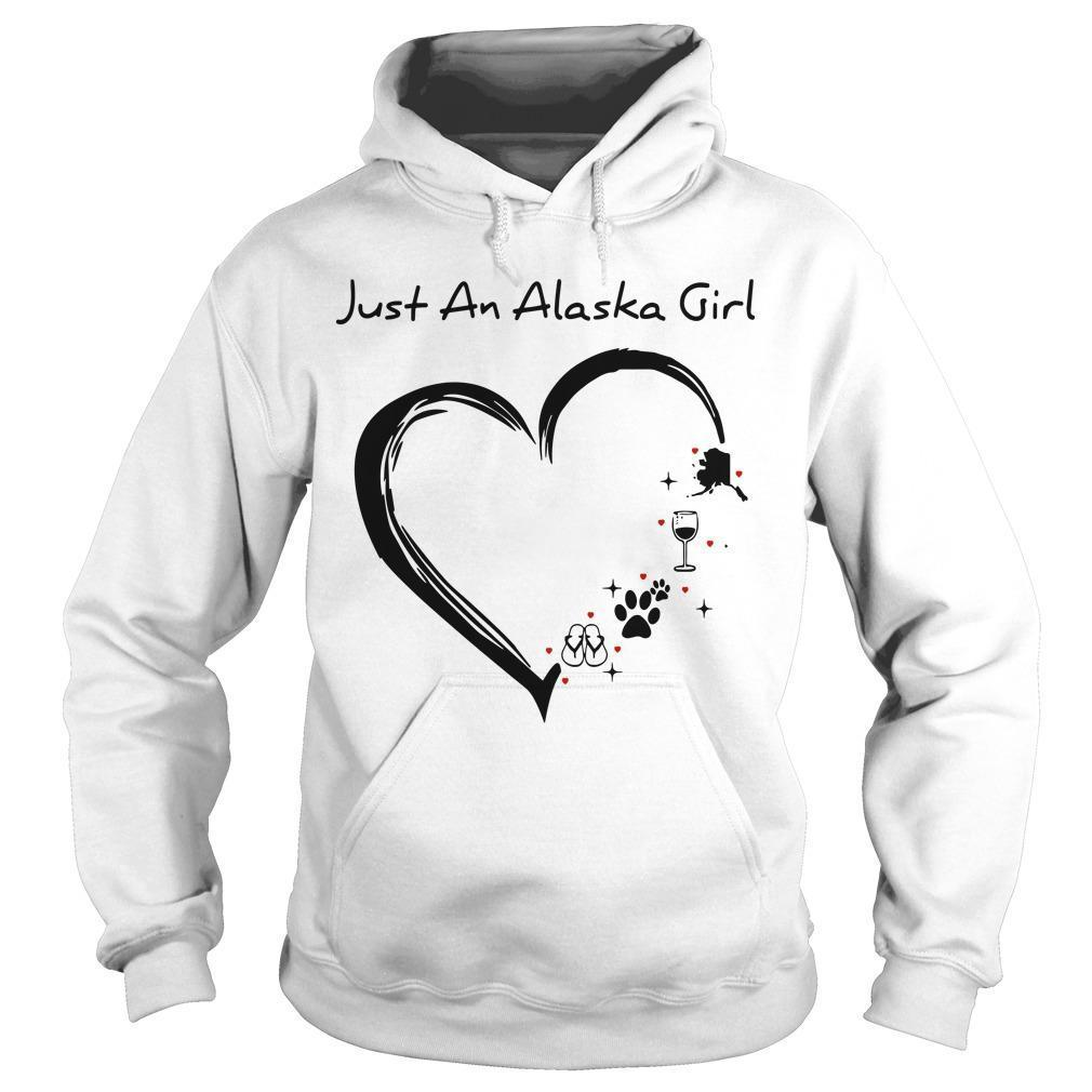 Just An Alaska Girl Loves Flip Flops Dog Wine And Mountain Hoodie