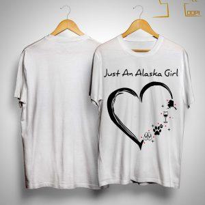Just An Alaska Girl Loves Flip Flops Dog Wine And Mountain Shirt