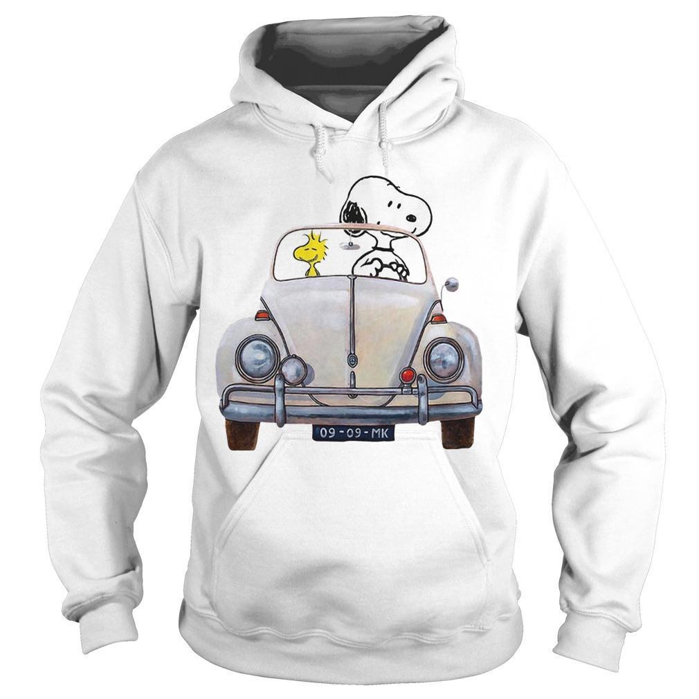 Snoopy And Woodstock Driving Volkswagen Beetle Hoodie