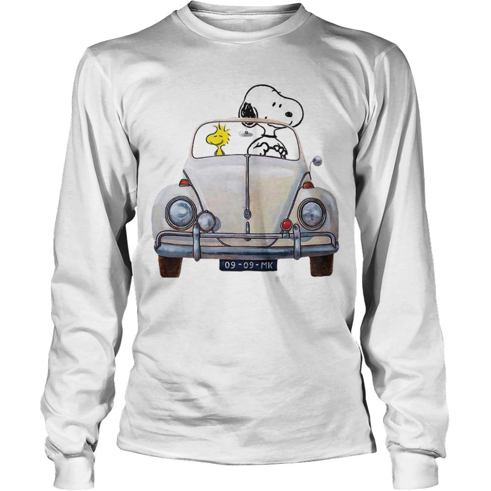 Snoopy And Woodstock Driving Volkswagen Beetle Longsleeve