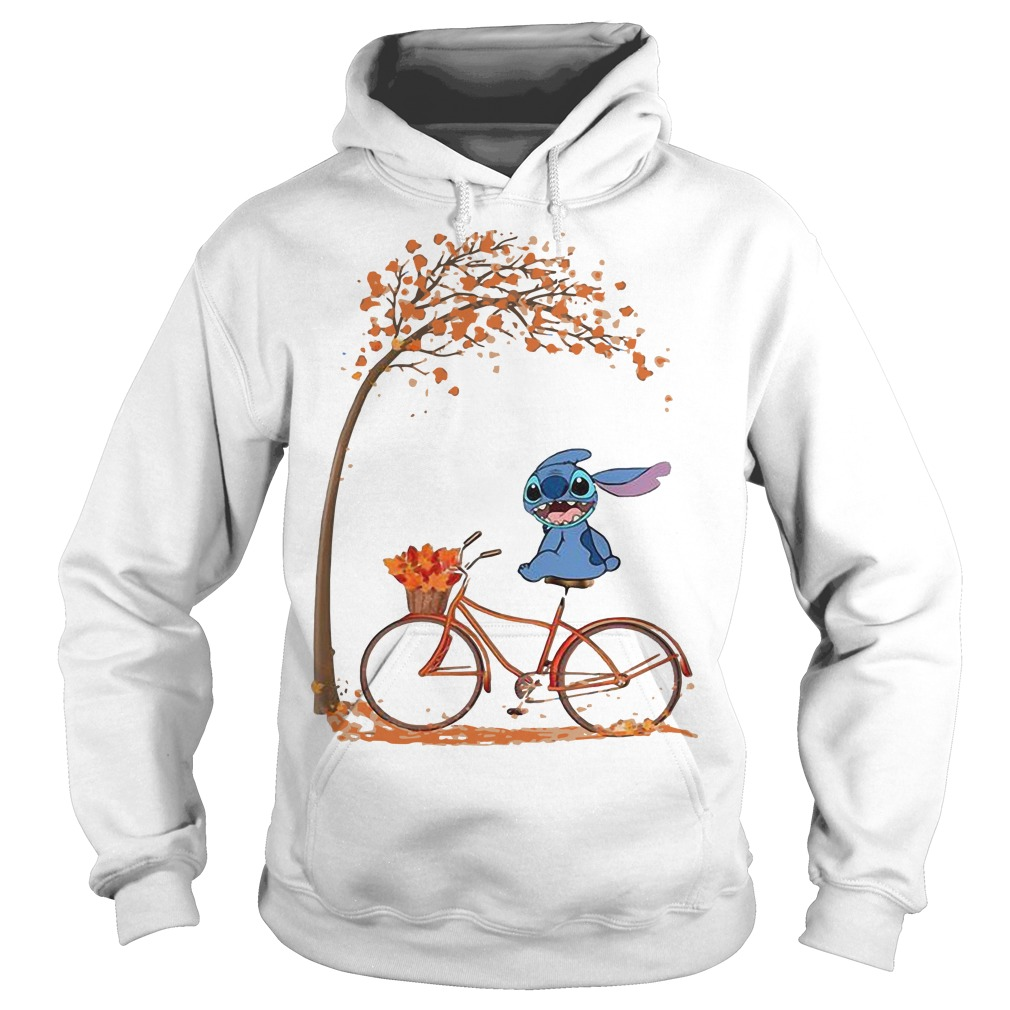 Stitch Riding Bicycle Under Autumn Leaf Tree Hoodie