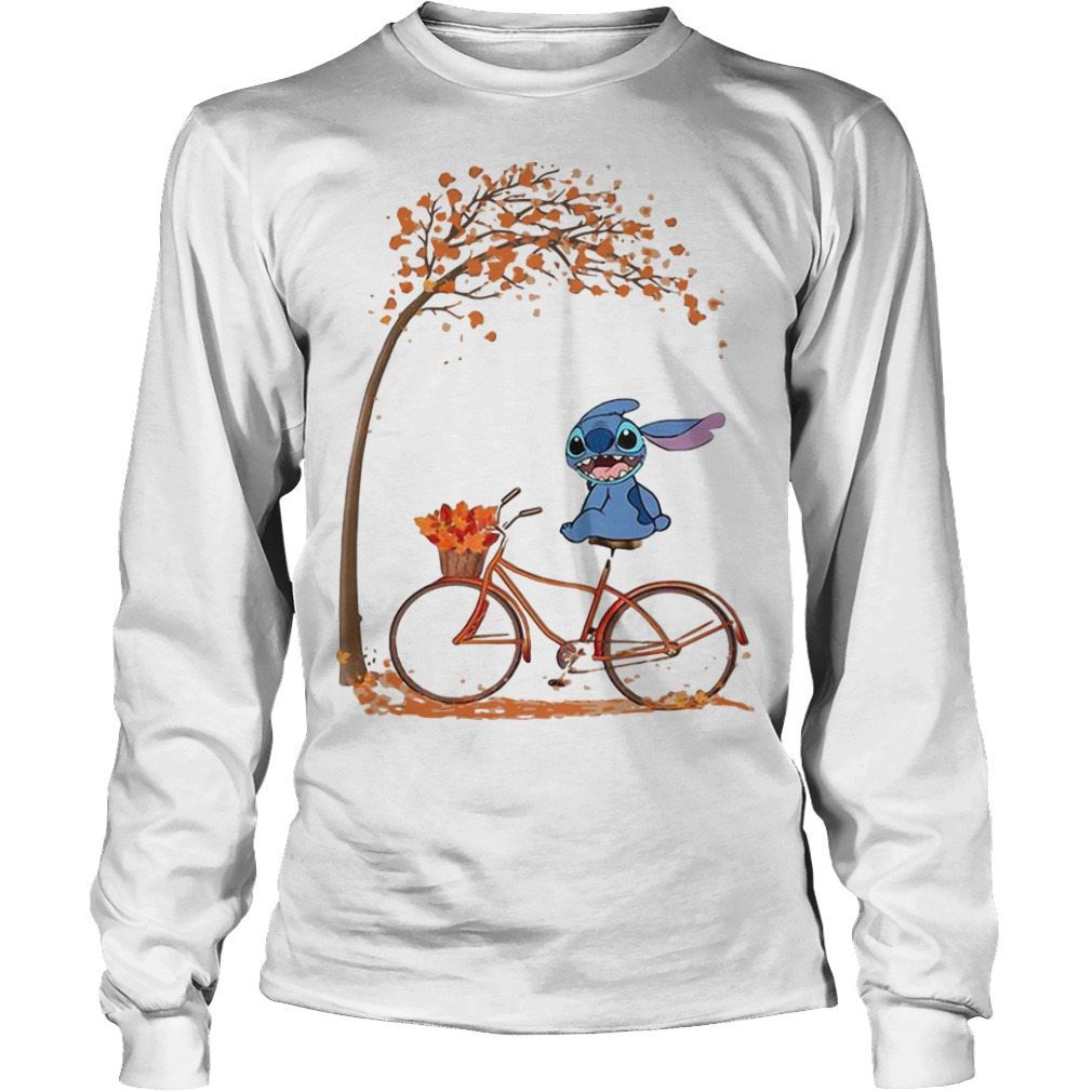 Stitch Riding Bicycle Under Autumn Leaf Tree Longsleeve