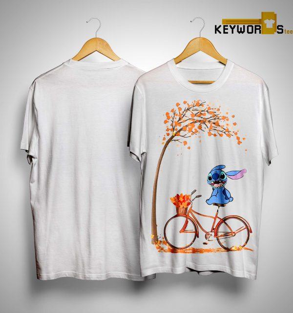 Stitch Riding Bicycle Under Autumn Leaf Tree Shirt