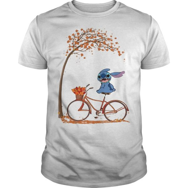 Stitch Riding Bicycle Under Autumn Leaf Tree