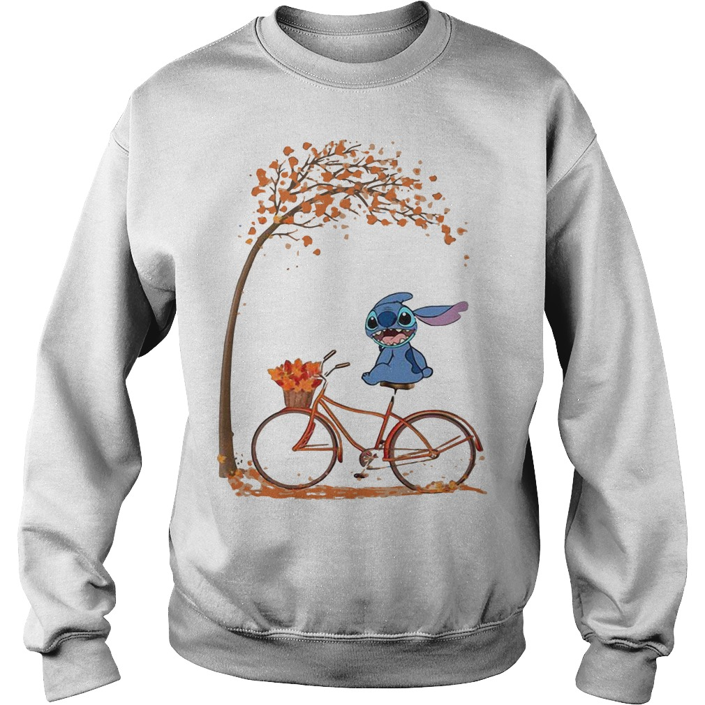 Stitch Riding Bicycle Under Autumn Leaf Tree Sweater