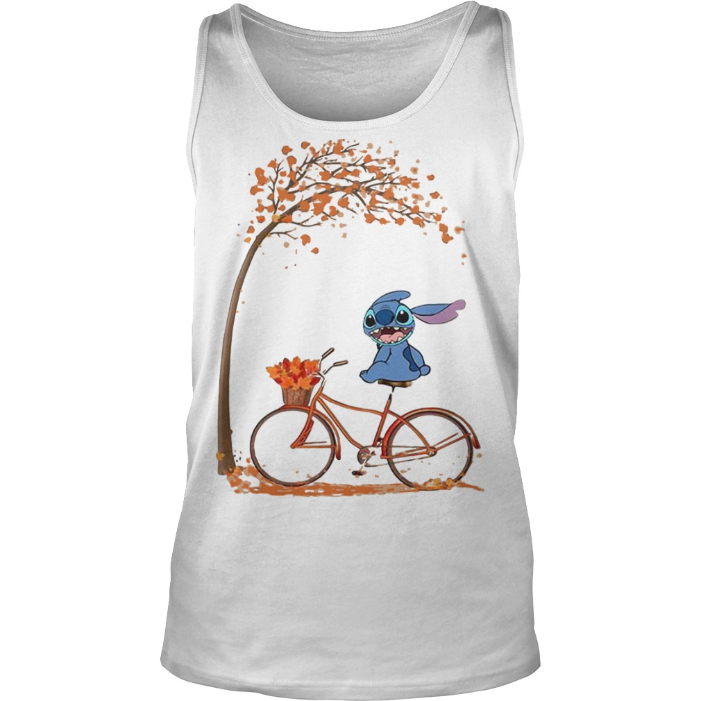 Stitch Riding Bicycle Under Autumn Leaf Tree Tank Top