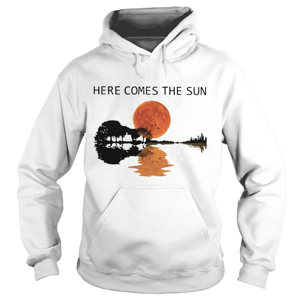 Sunset Guitar Water Reflection Here Comes The Sun Hoodie