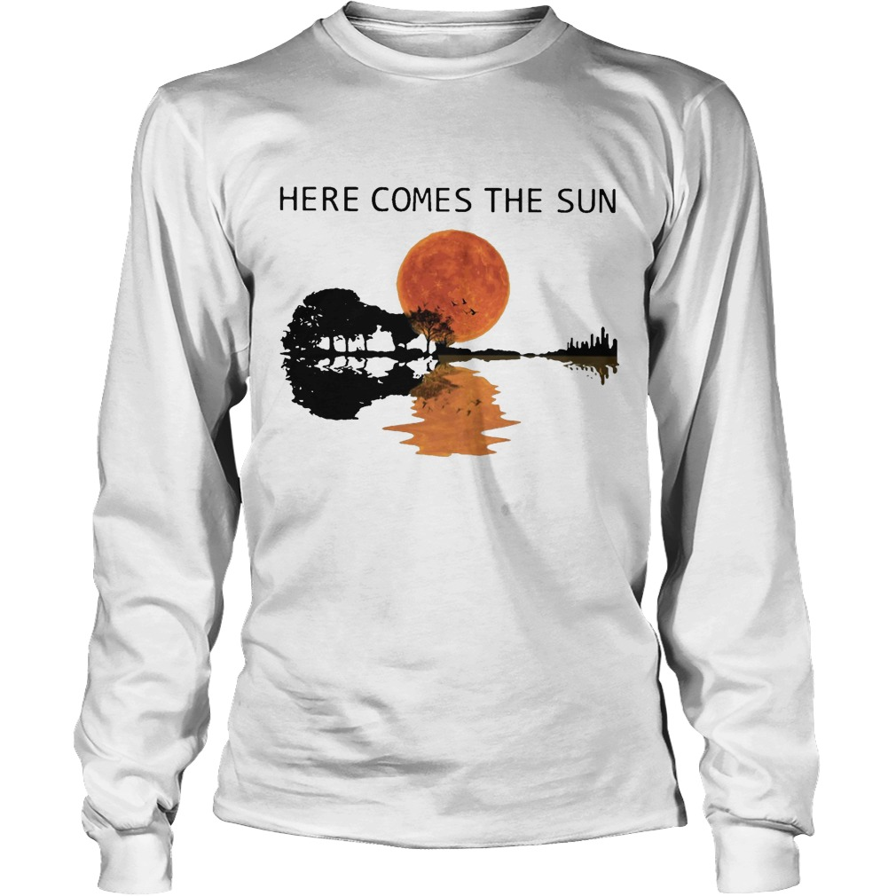 Sunset Guitar Water Reflection Here Comes The Sun Longsleeve