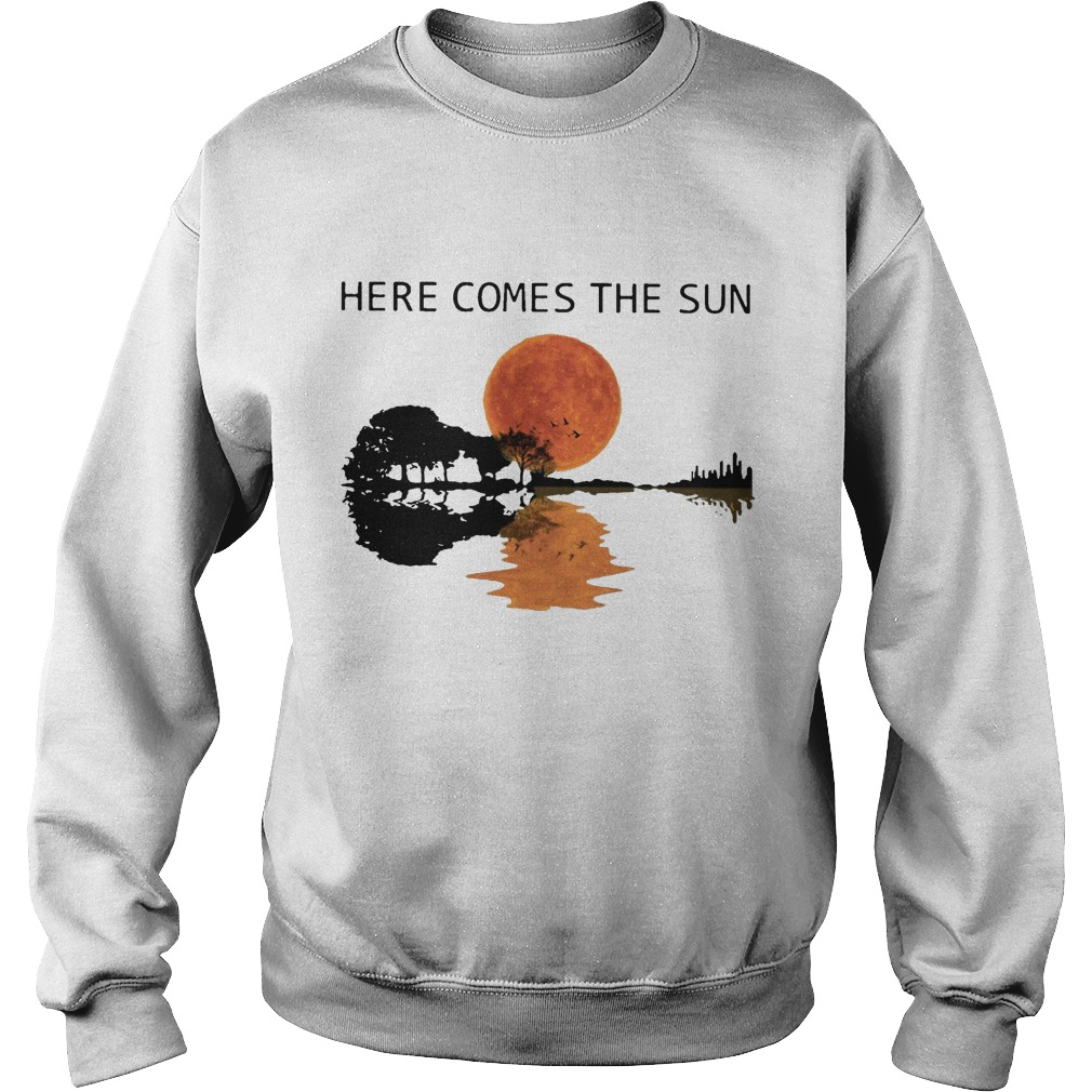 Sunset Guitar Water Reflection Here Comes The Sun Sweater