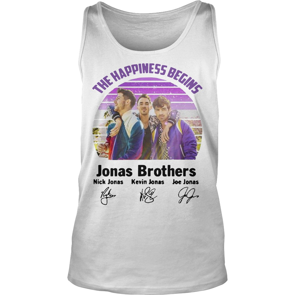 Vintage The Happiness Begins Jonas Brothers Signatures Tank Top