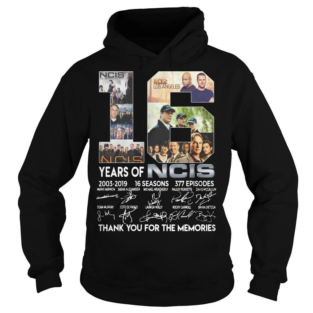 18 Years Of Ncis 2003 2019 Thank You For The Memories Signatures Hoodie