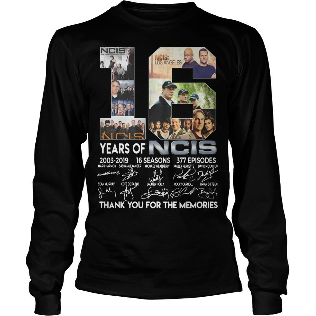18 Years Of Ncis 2003 2019 Thank You For The Memories Signatures Longsleeve