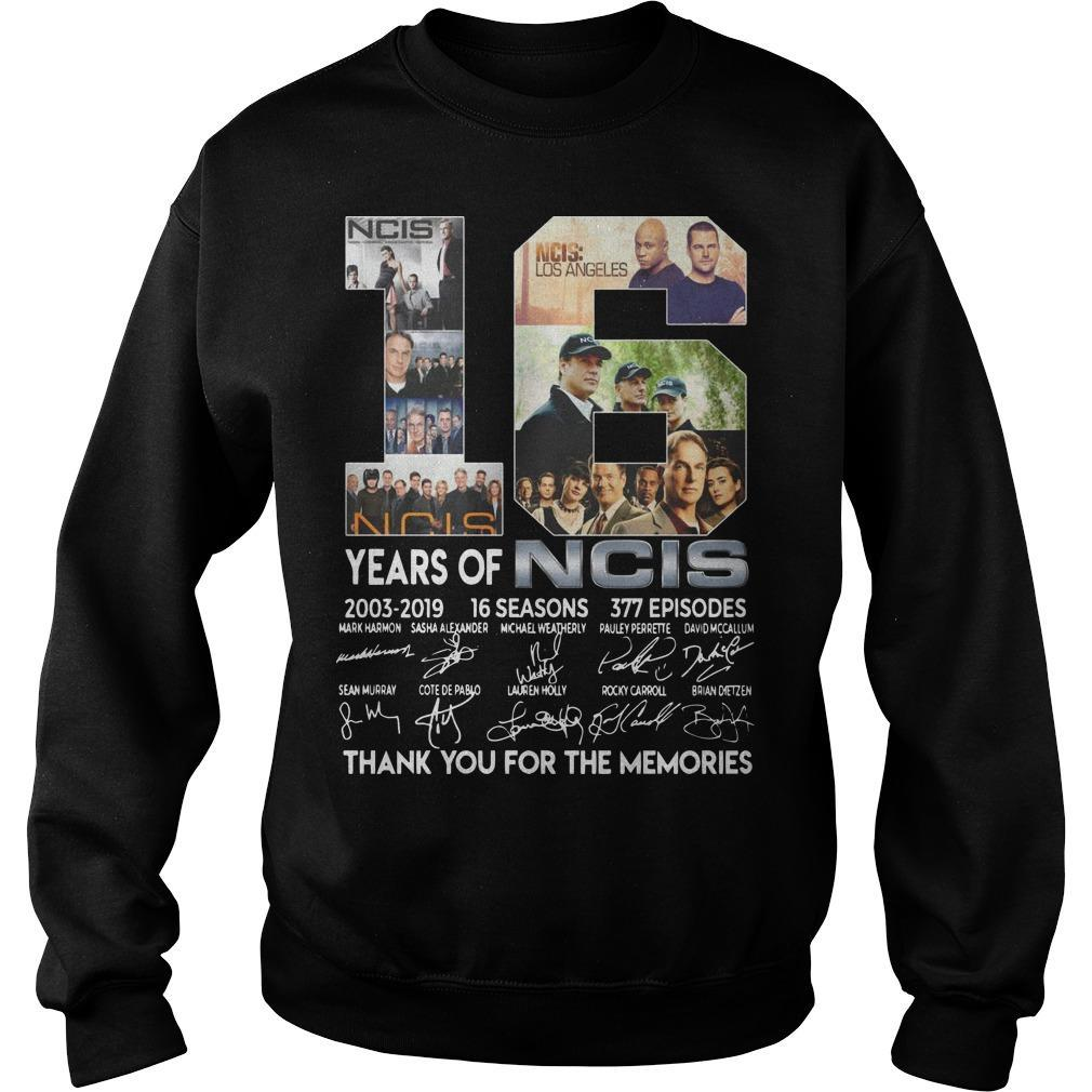 18 Years Of Ncis 2003 2019 Thank You For The Memories Signatures Sweater