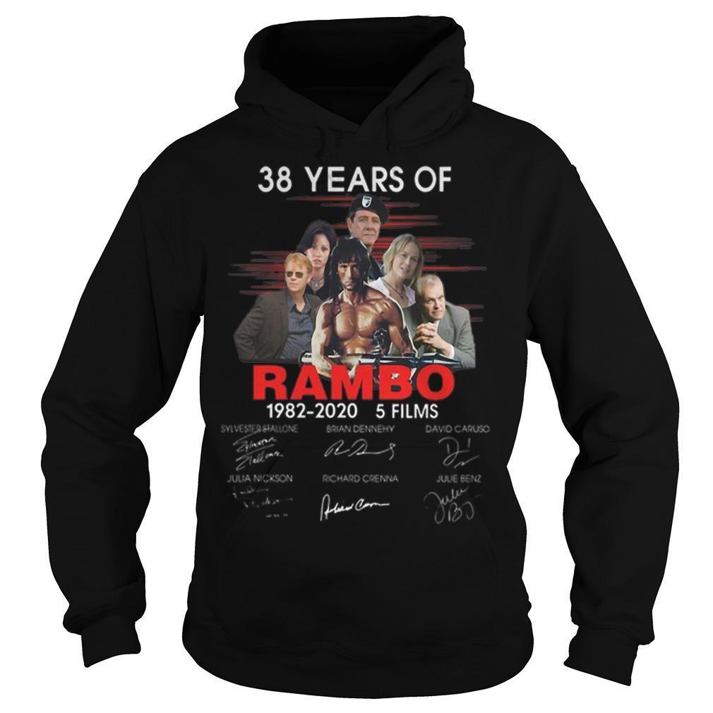 38 Years Of Rambo 1982 2020 5 Films Signatures Hoodie