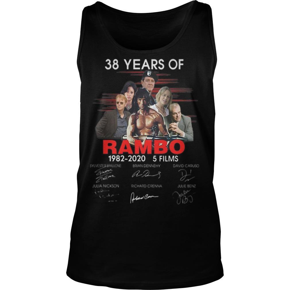38 Years Of Rambo 1982 2020 5 Films Signatures Tank Top