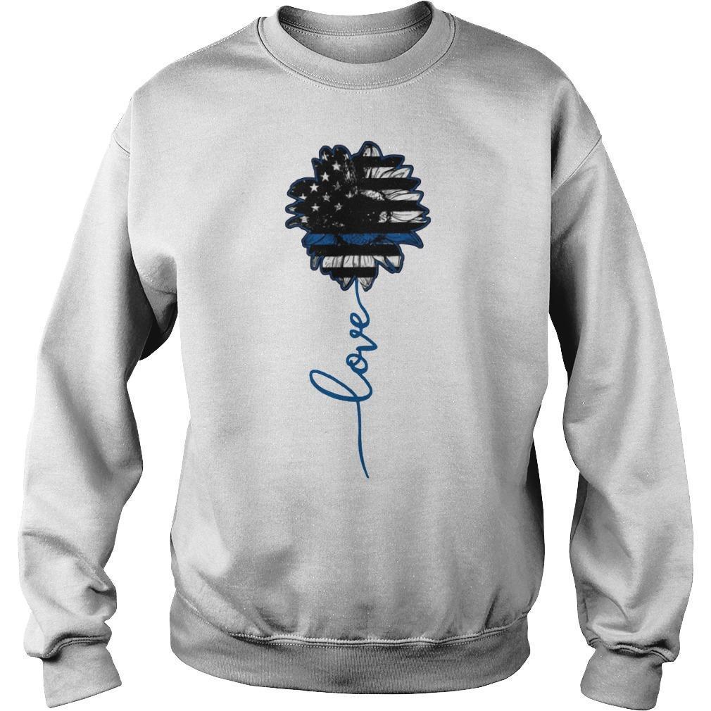 American Flag Police Sunflower Love Sweater