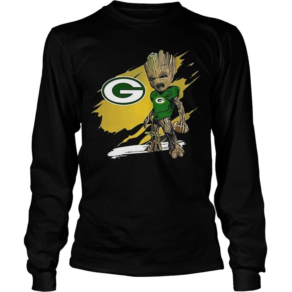 Baby Groot Crazy And Green Bay Packer Longsleeve