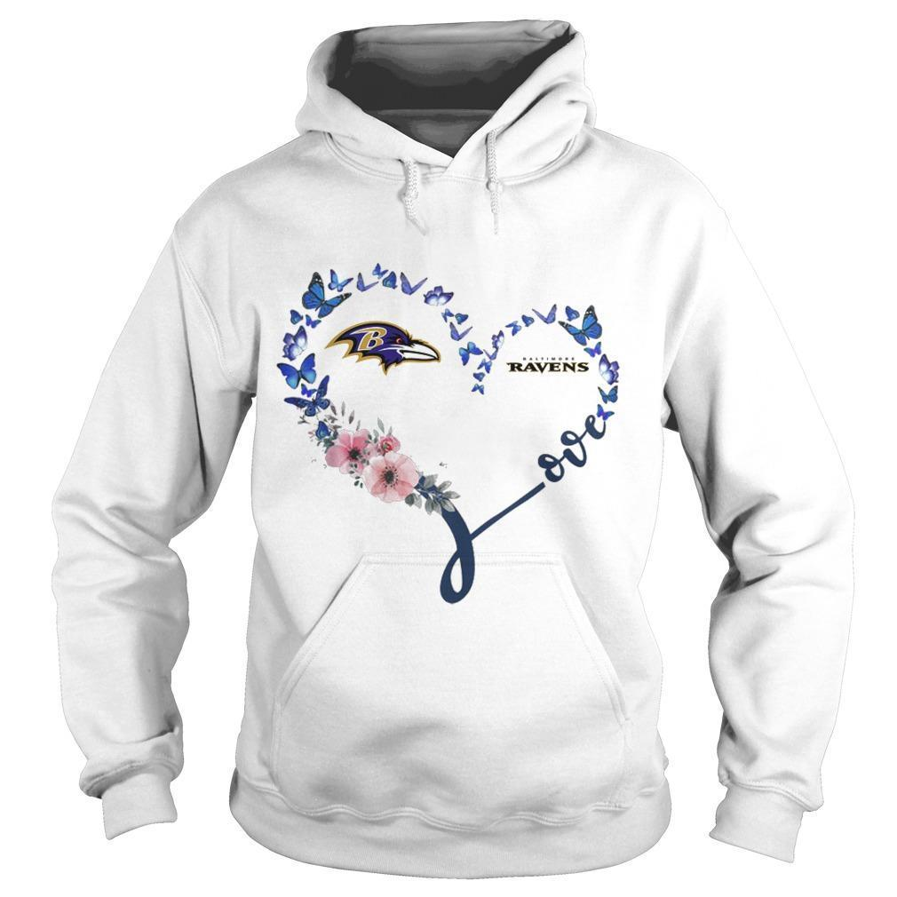 Baltimore Ravens Heart Butterfly And Flowers Hoodie