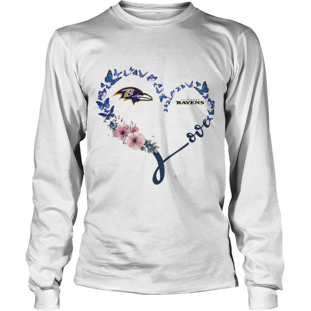 Baltimore Ravens Heart Butterfly And Flowers Longsleeve