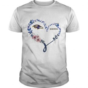 Baltimore Ravens Heart Butterfly And Flowers Shirt