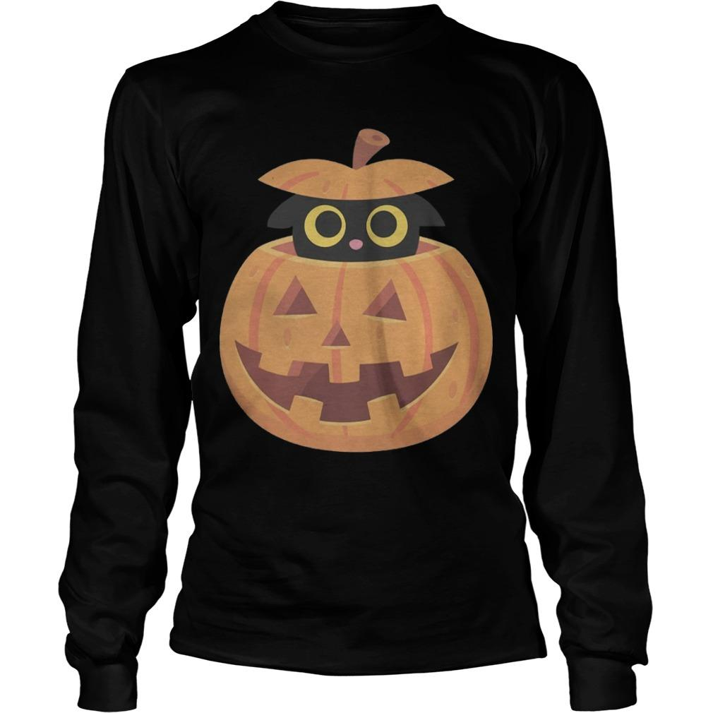 Black Kitten In The Pumpkin T Longsleeve