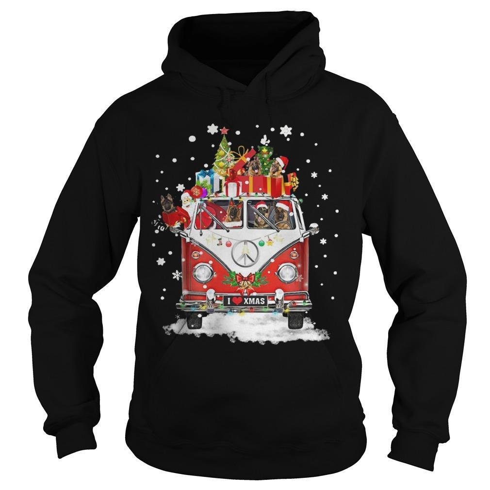 Christmas Hippie Car German Shepherd Hoodie