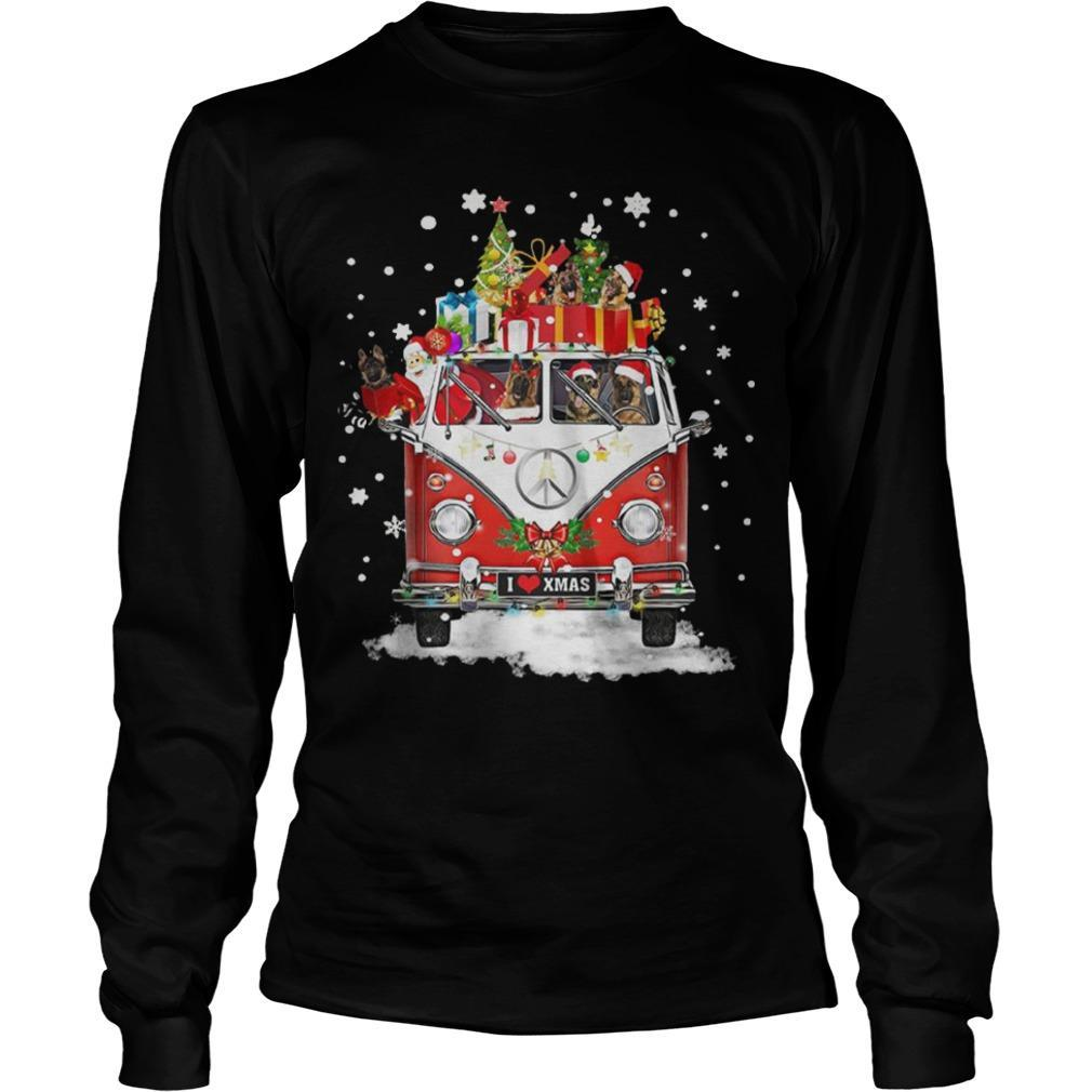Christmas Hippie Car German Shepherd Longsleeve