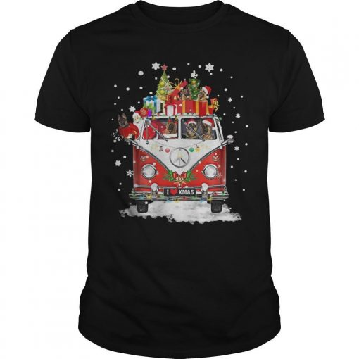 Christmas Hippie Car German Shepherd Shirt