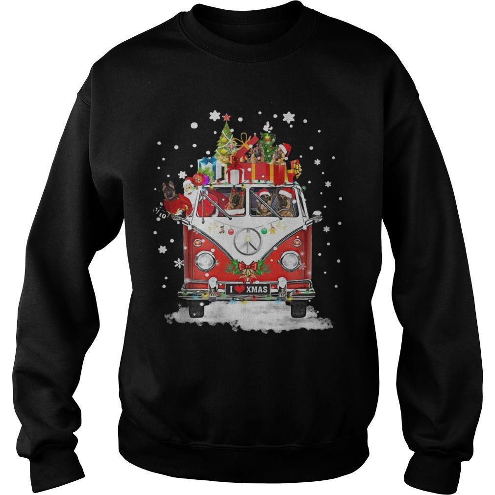 Christmas Hippie Car German Shepherd Sweater